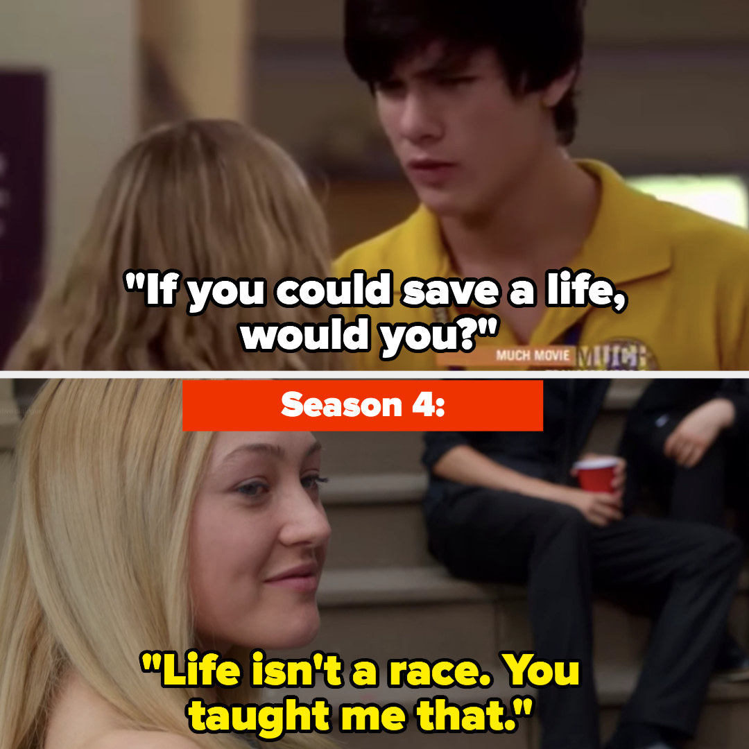 """Zig: """"If you could save a life would you?"""" Maya: """"Life isn't a race, you taught me that"""""""