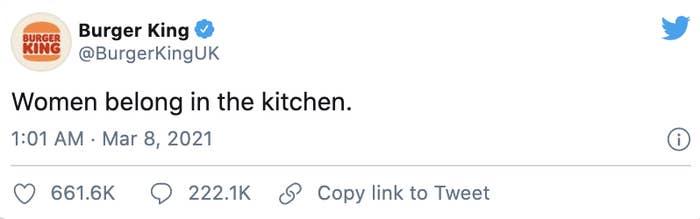 """The tweet says, """"Women belong in the kitchen"""""""