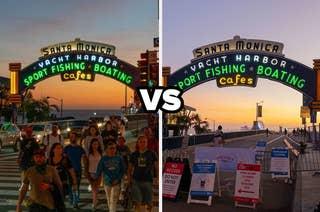 Santa Monica Pier a year ago vs now