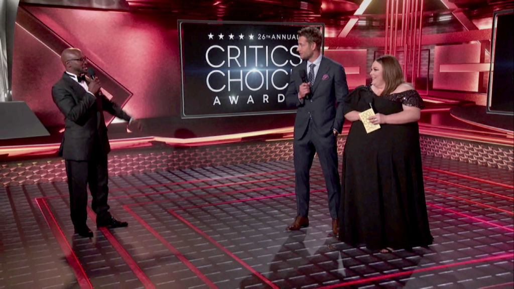 (L to R) Taye Diggs, Justin Hartley, and Chrissy Metz speak at the 26th Annual Critics Choice Awards on March 07, 2021