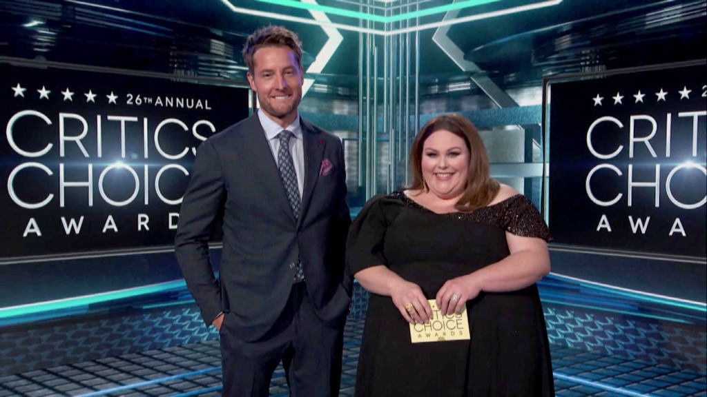 (L-R) Justin Hartley and Chrissy Metz speak at the 26th Annual Critics Choice Awards on March 07, 2021