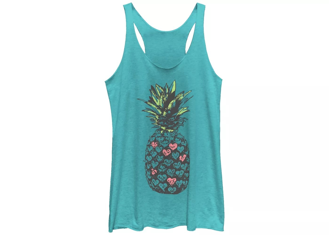 The turquoise racerback with a pineapple graphic