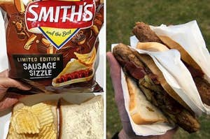 """A bag of """"Sausage Sizzle"""" chips held over the top of a chip sandwich next to two sausages in white bread with onions and tomato sauce"""
