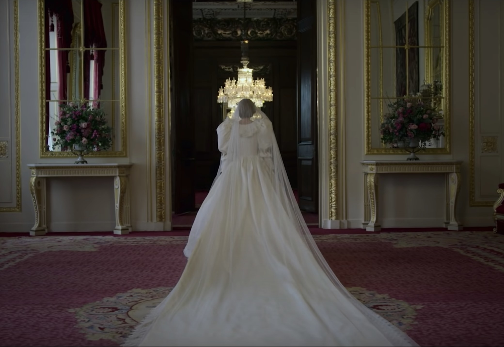 The back view of Princess Diana's wedding gown on the The Crown