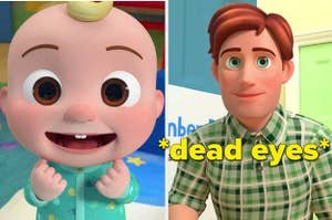 A split thumbnail of an animated baby and an animated dad