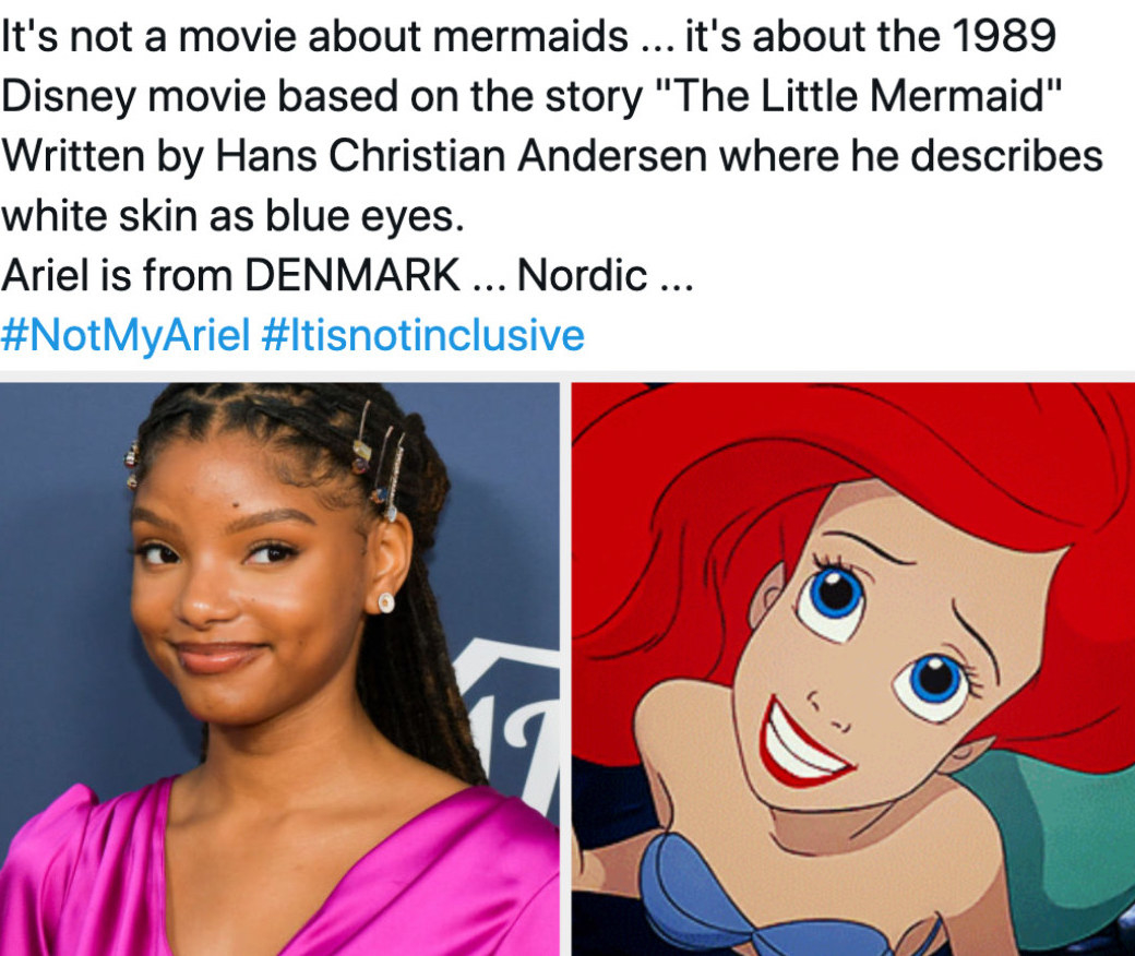 """A tweet insulting Halle Bailey's casting as Ariel in """"The Little Mermaid"""" live action remake; Halle Bailey on a 2019 red carpet; Ariel from """"The Little Mermaid"""" (1989)"""