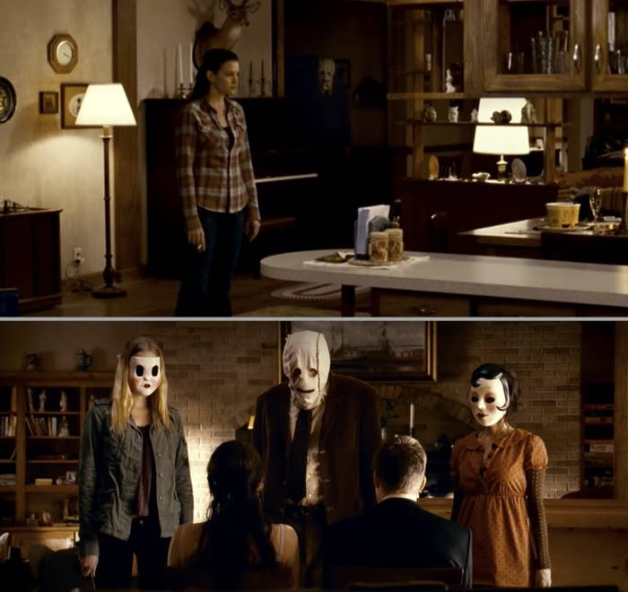 """Three people in masks tying up two unsuspecting people in a cabin in """"The Strangers"""""""