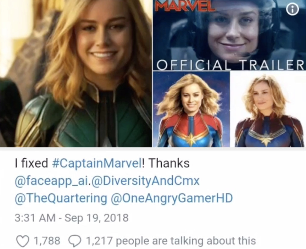 A tweet of multiple photoshopped pictures of Brie Larson's Marvel character, Carol Danvers, smiling