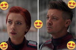 "Scarlett Johansson as Natasha Romanoff and Jeremy Renner as Clint Barton in the movie ""Avengers: Endgame."""