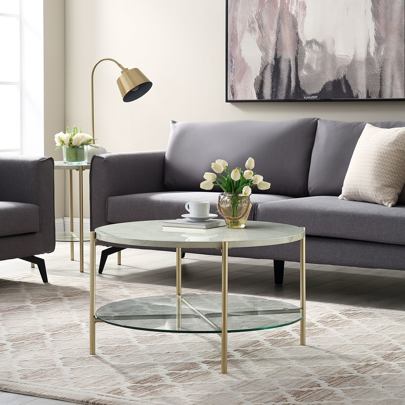 A two-toned coffee table in a home
