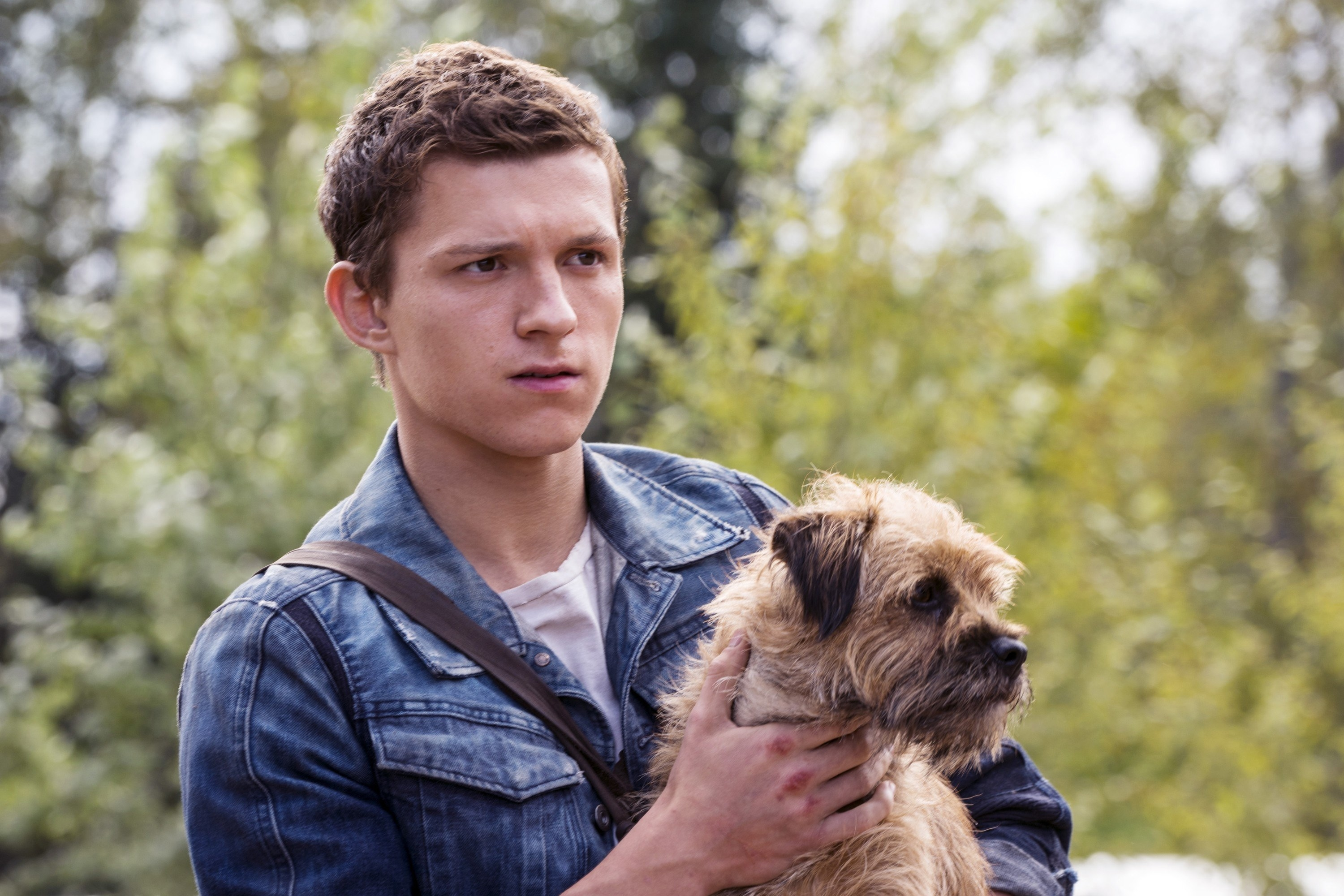 Tom Holland playing Todd in the movie Chaos Walking. Todd is holding his dog Manchee