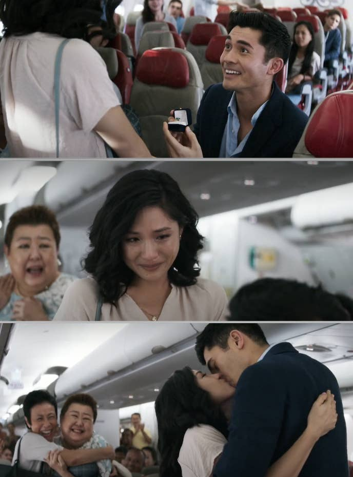 """The plane proposal at the end of """"Crazy Rich Asians"""""""