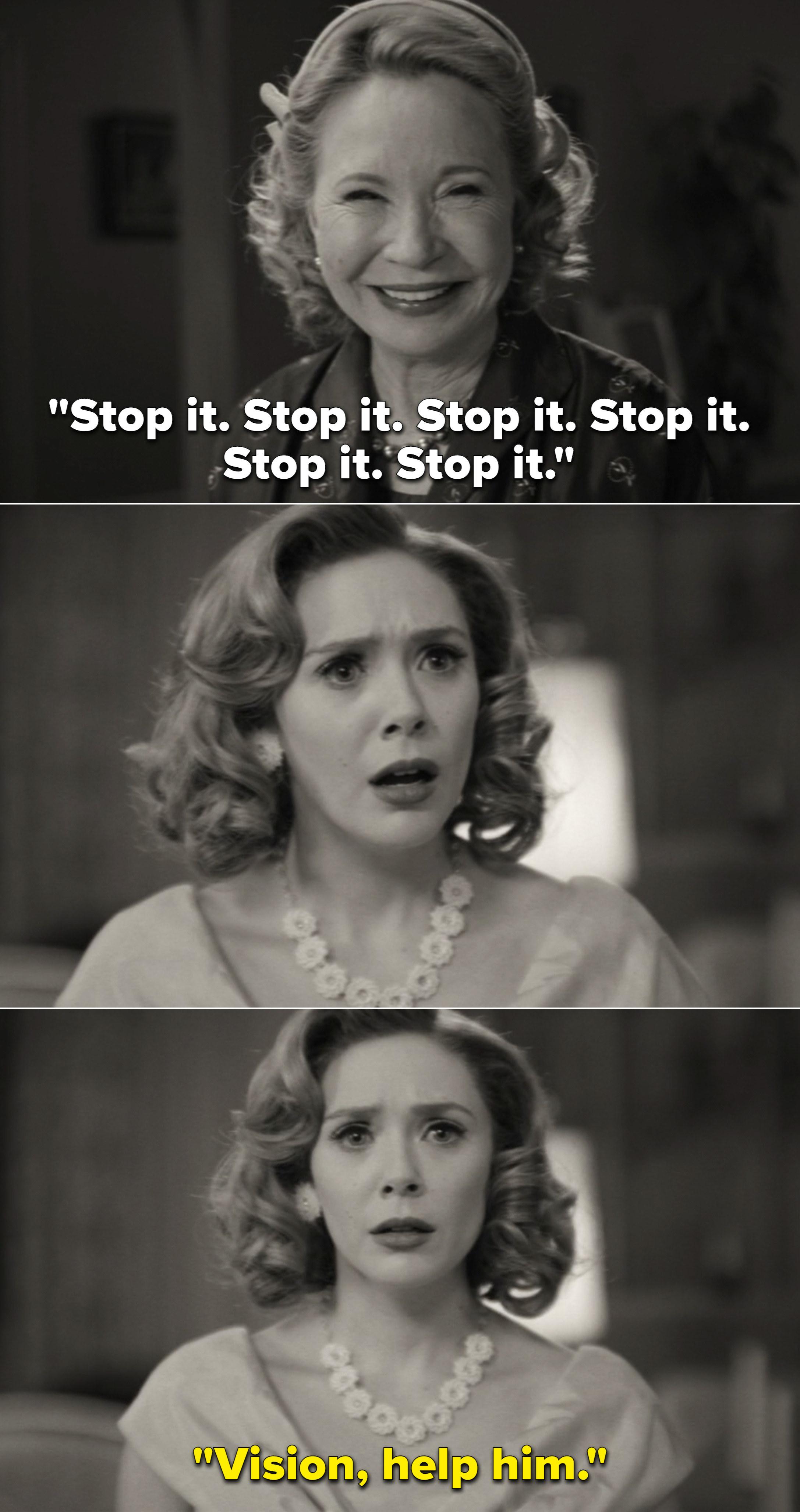 "Mrs. Hart repeatedly saying, ""Stop it"" and Wanda eventually saying, ""Vision, help him"""