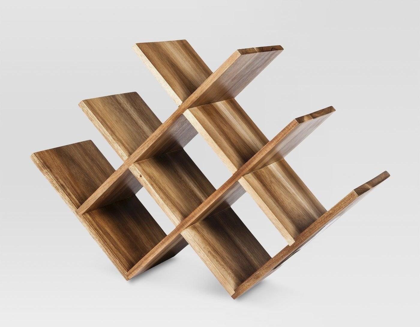 A wooden wine rack