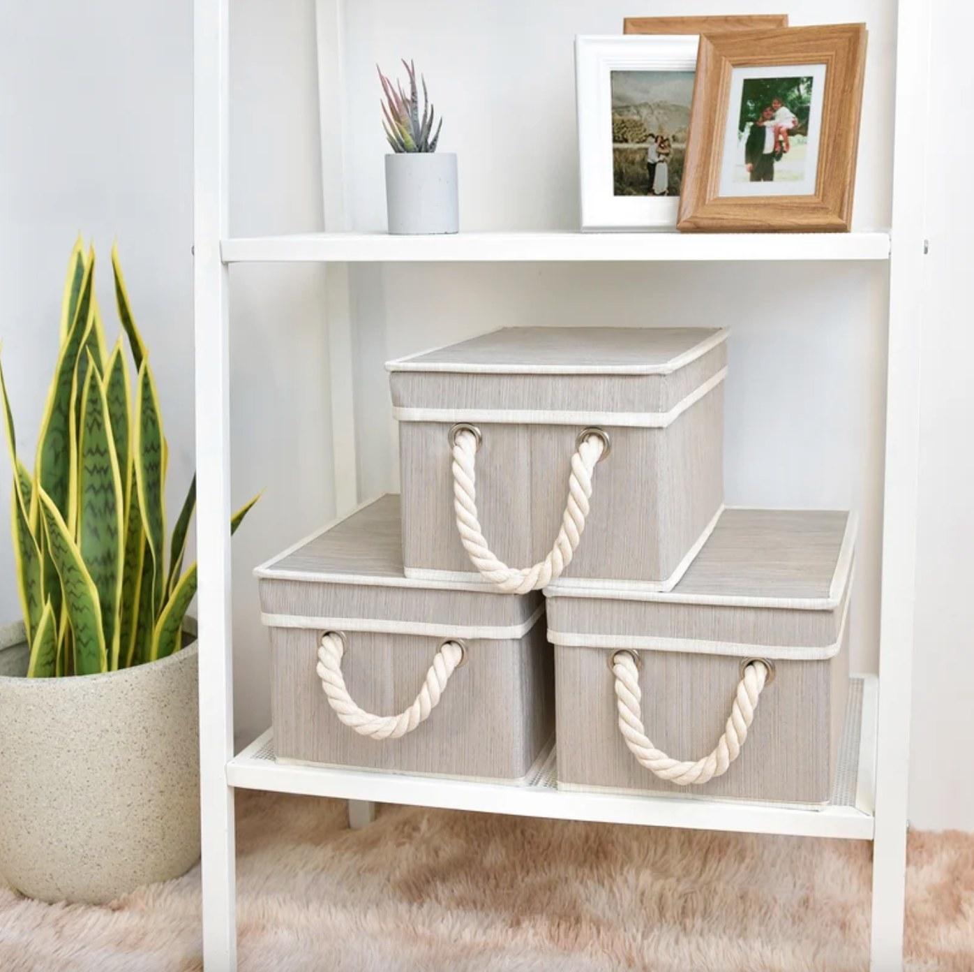 The three-piece fabric storage bin