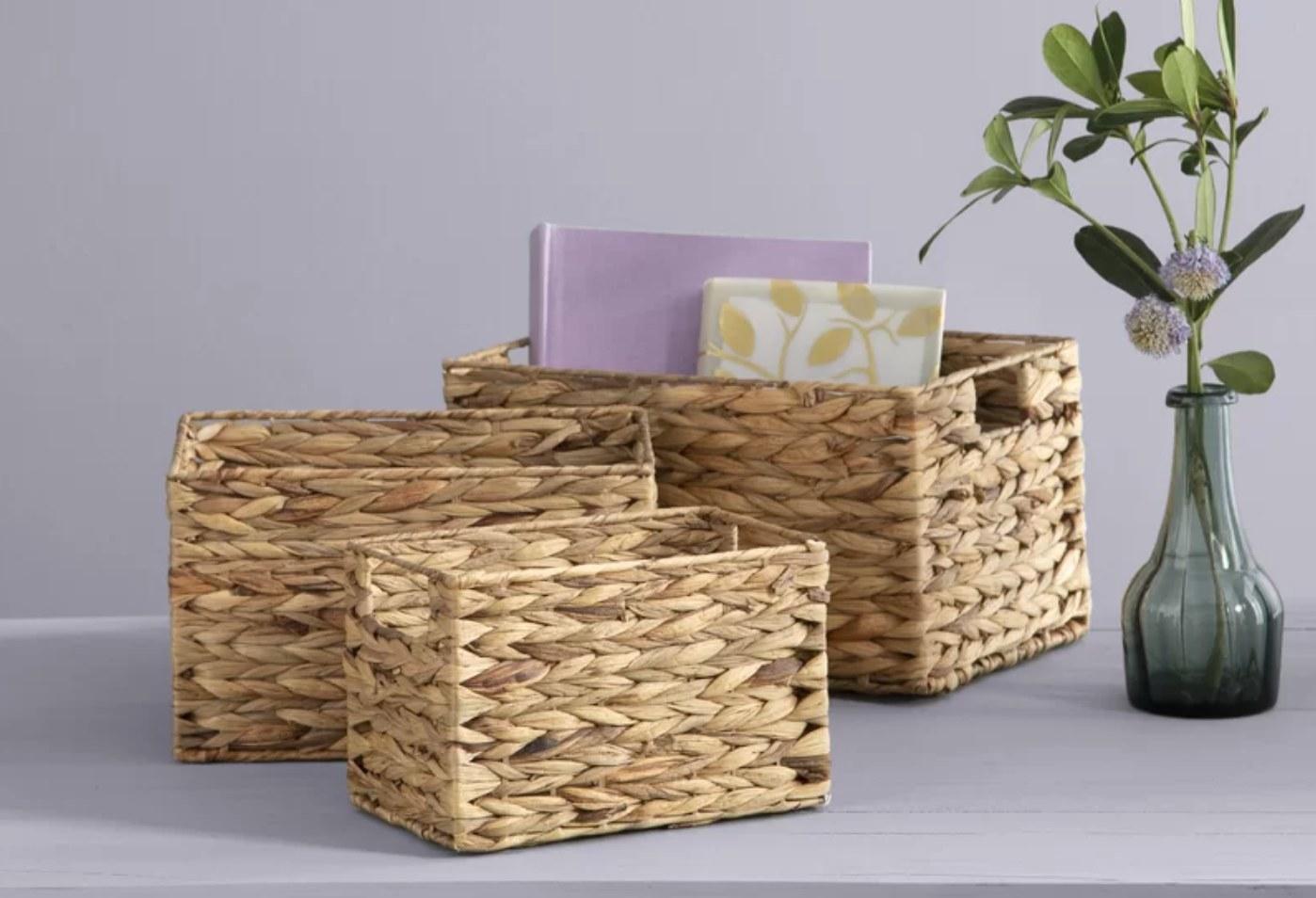 The three-piece wicker basket set in beige