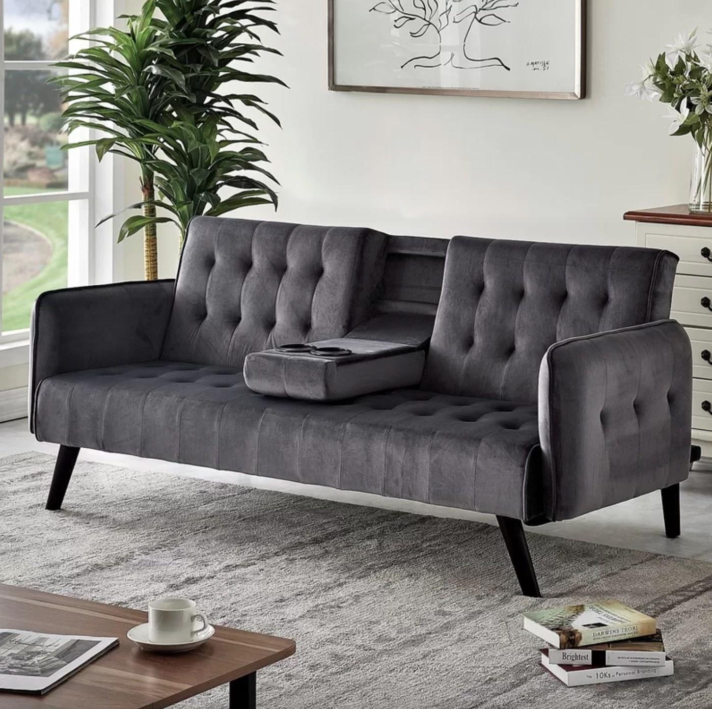 The velvet square arm sofa in gray