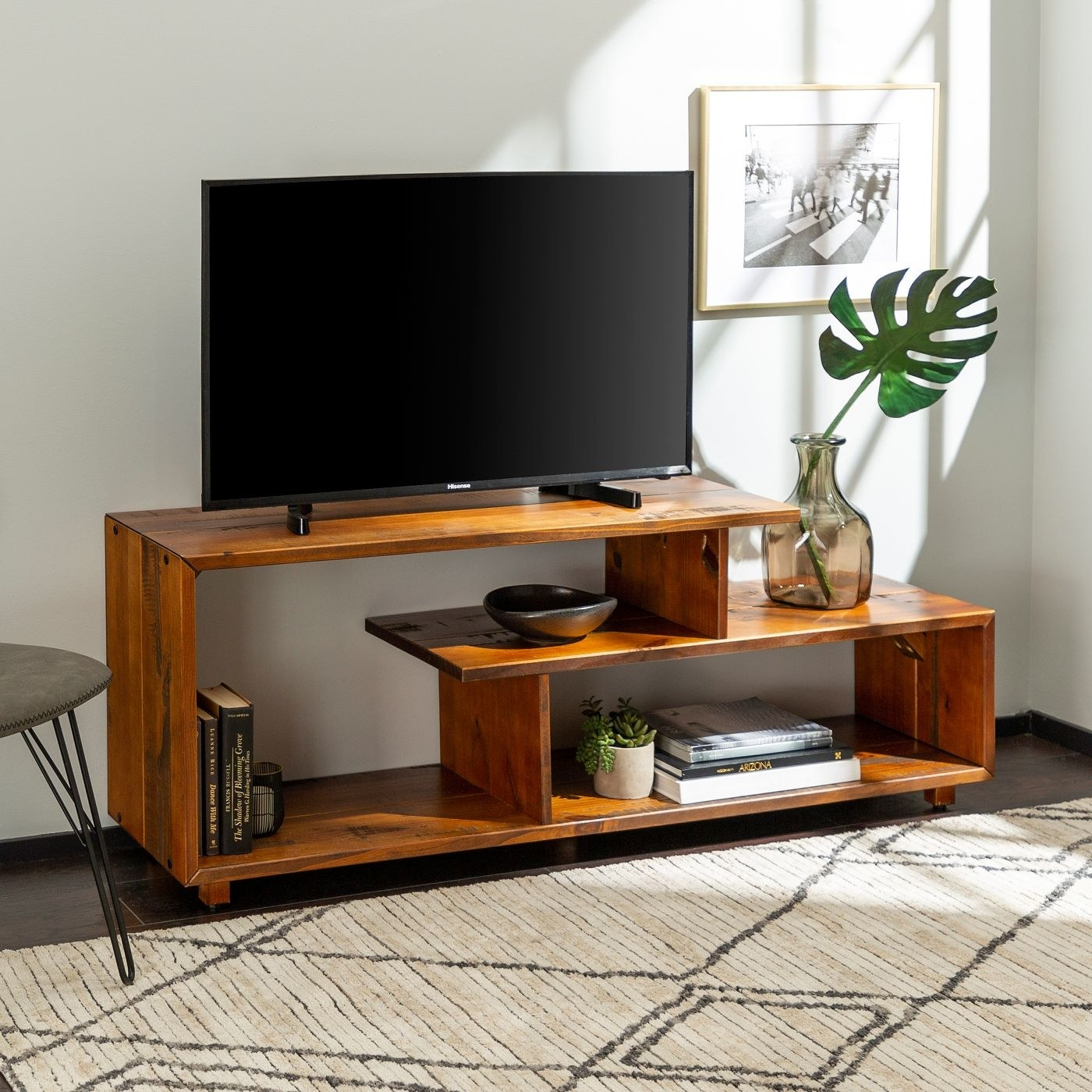 The brown TV stand in a home