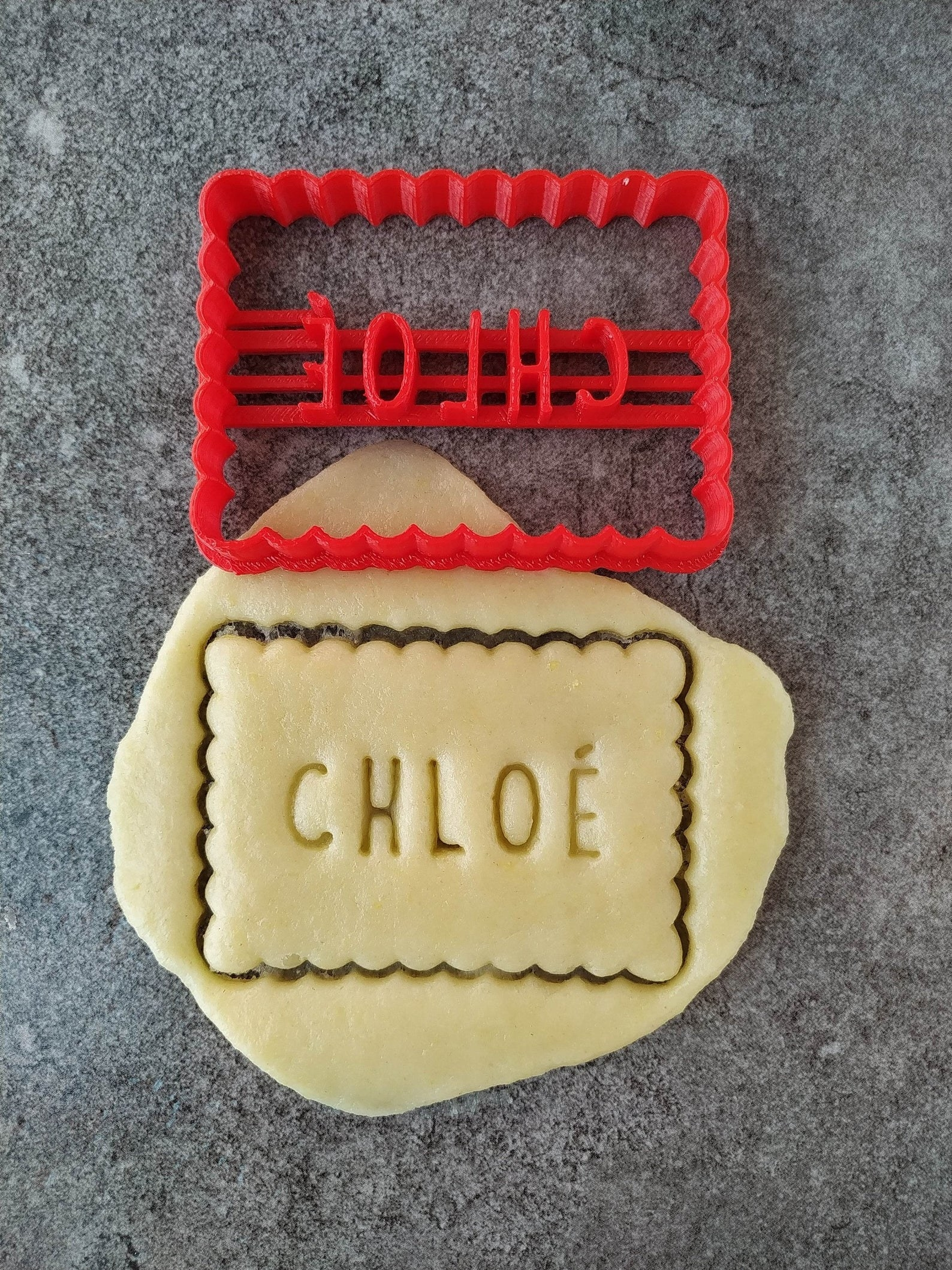 the red cookie cutter personalized to say Chloe