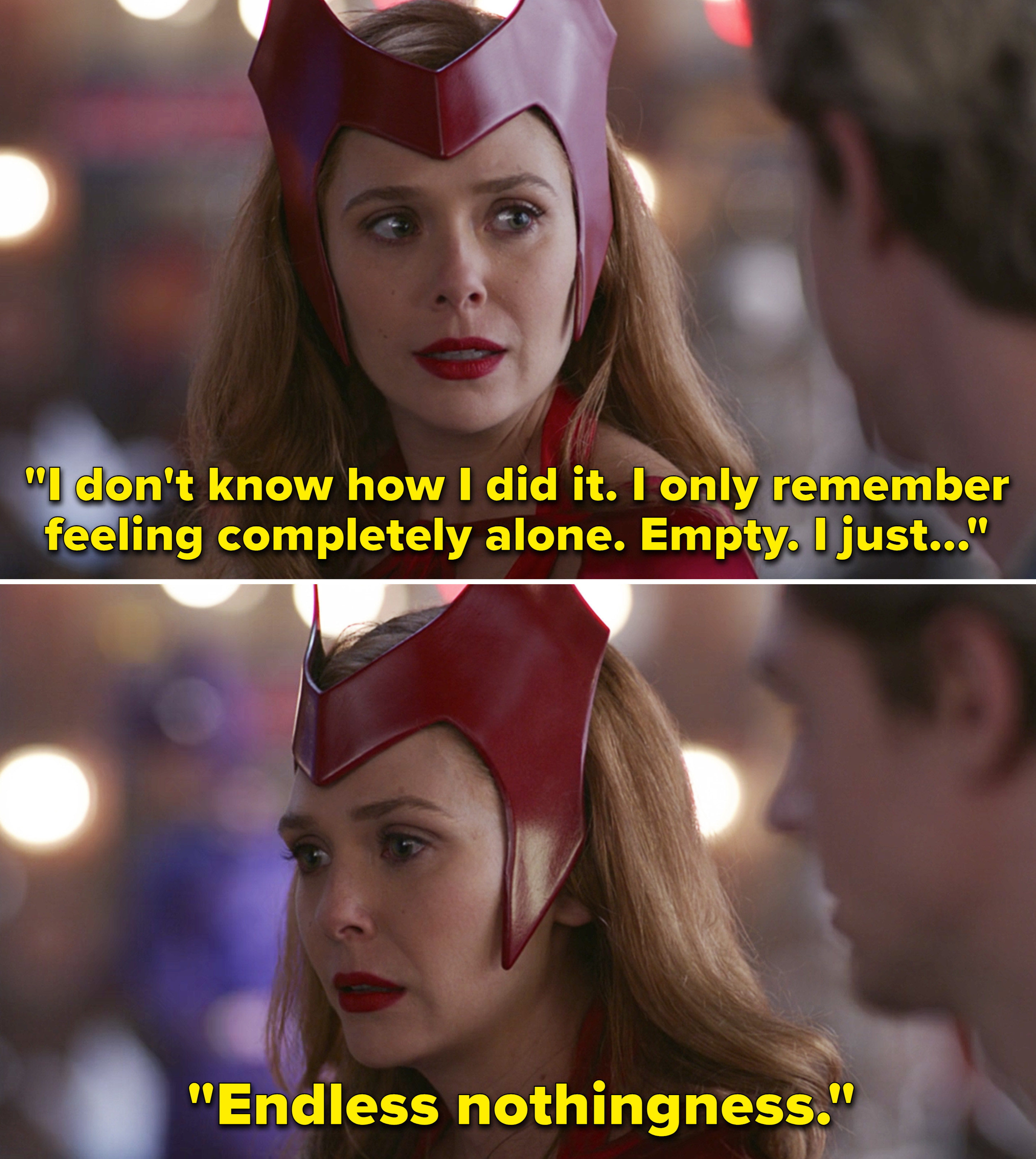 """Wanda saying, """"I don't know how I did it. I only remember feeling completely alone. Empty. I just... Endless nothingness"""""""