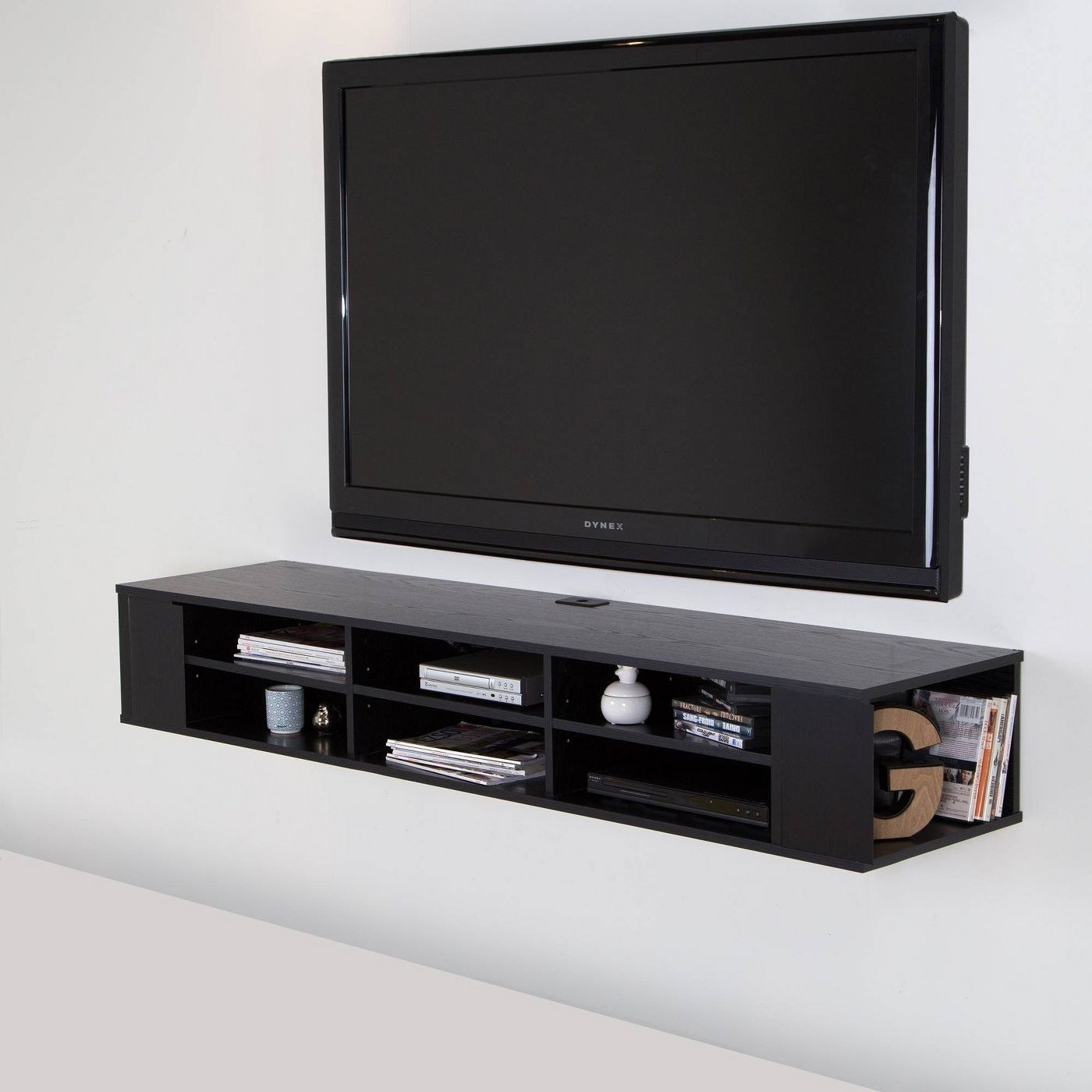 A floating TV stand in a home