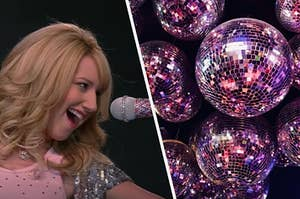Sharpay is on the left singing into a mic with disco balls on the right