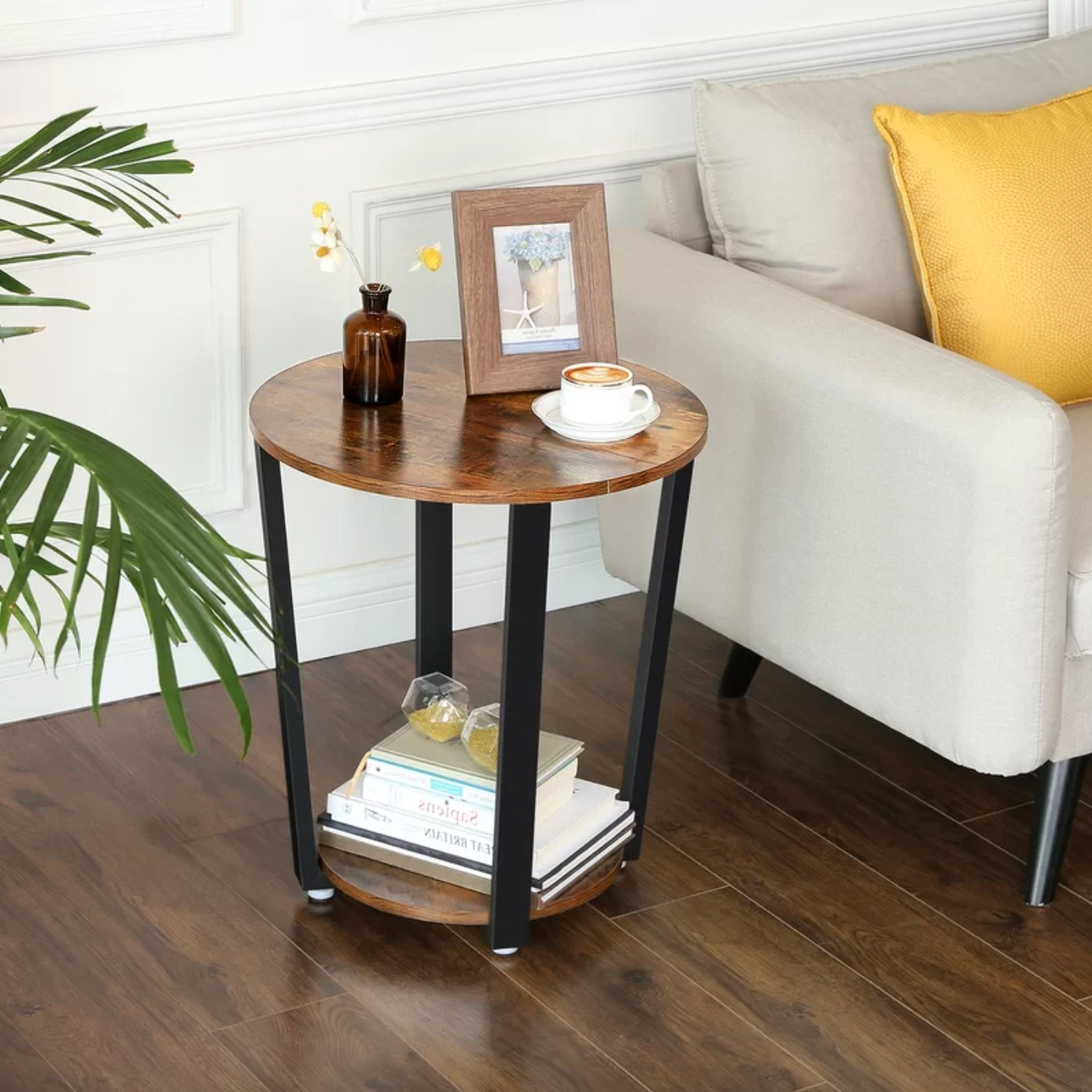 The end table in rustic wood
