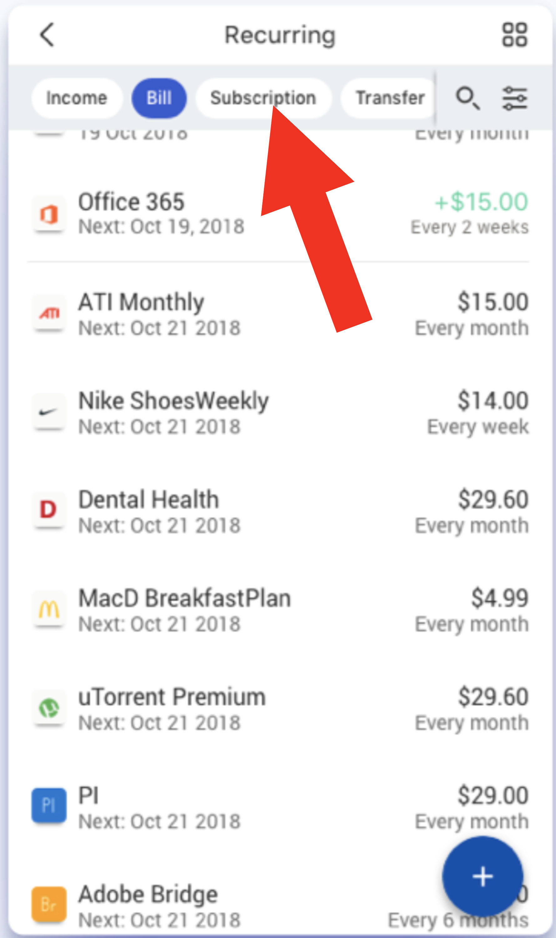 Screenshot of recurring bills and subscriptions in the Simplifi app