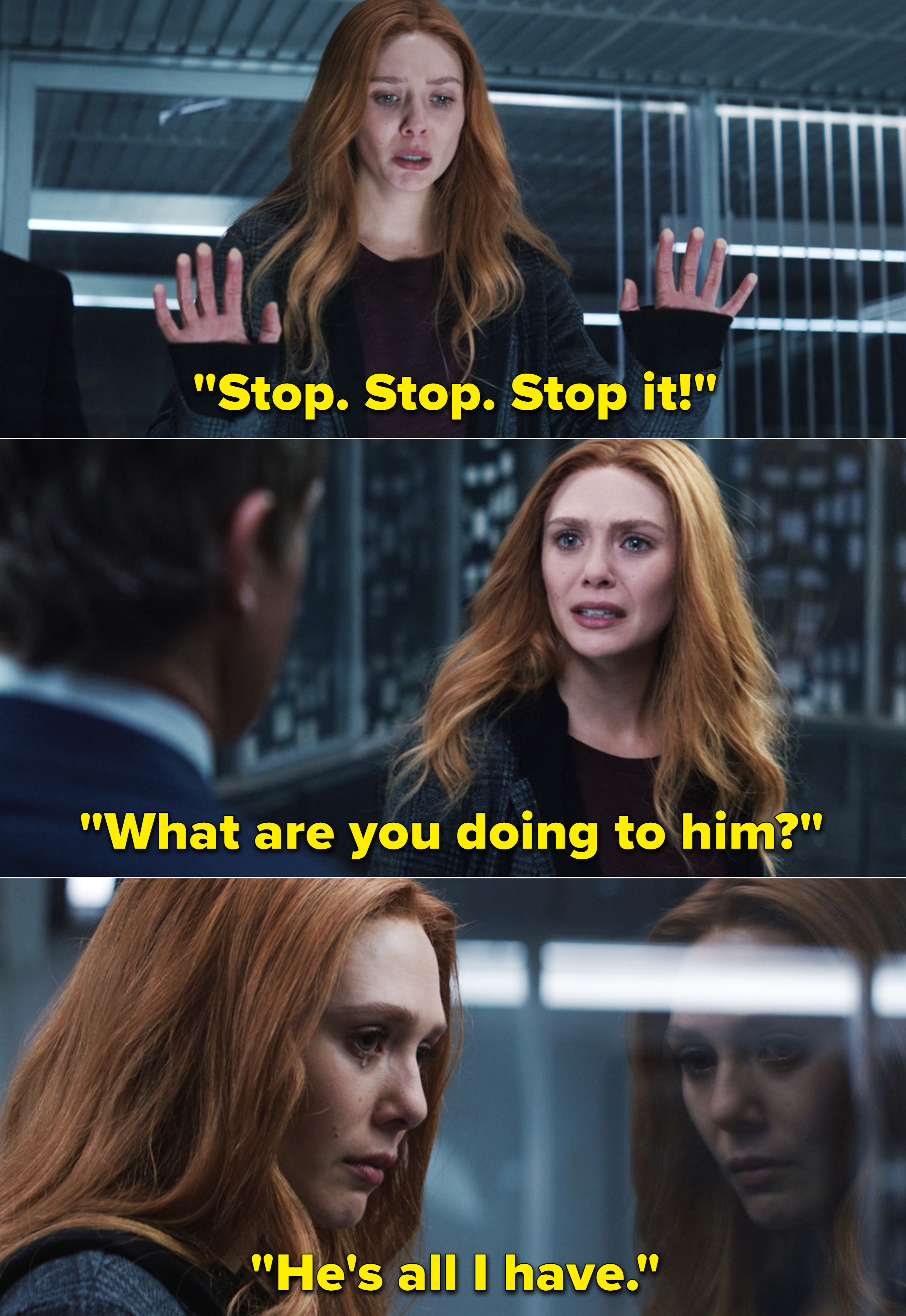 """Wanda crying and saying, """"Stop. Stop. Stop it! What are you doing to him? He's all I have"""""""
