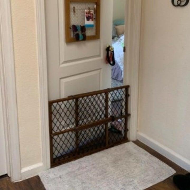wood gate in the doorframe of a door