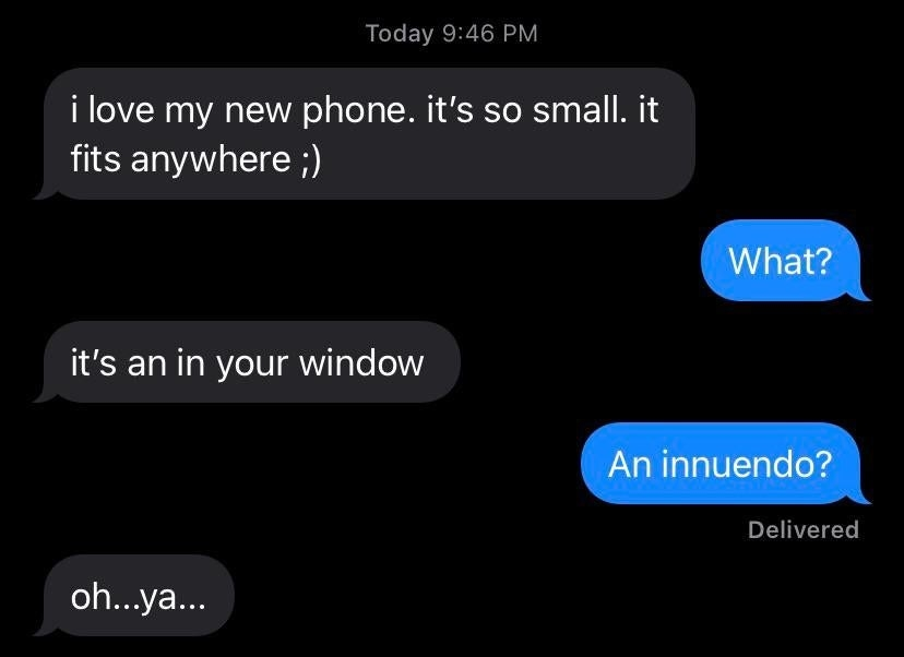 text reading i love my new phone it fits everywhere and the other person says what and they say it's an in your window but they mean innuendo