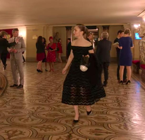 Emily wearing a formal dresss