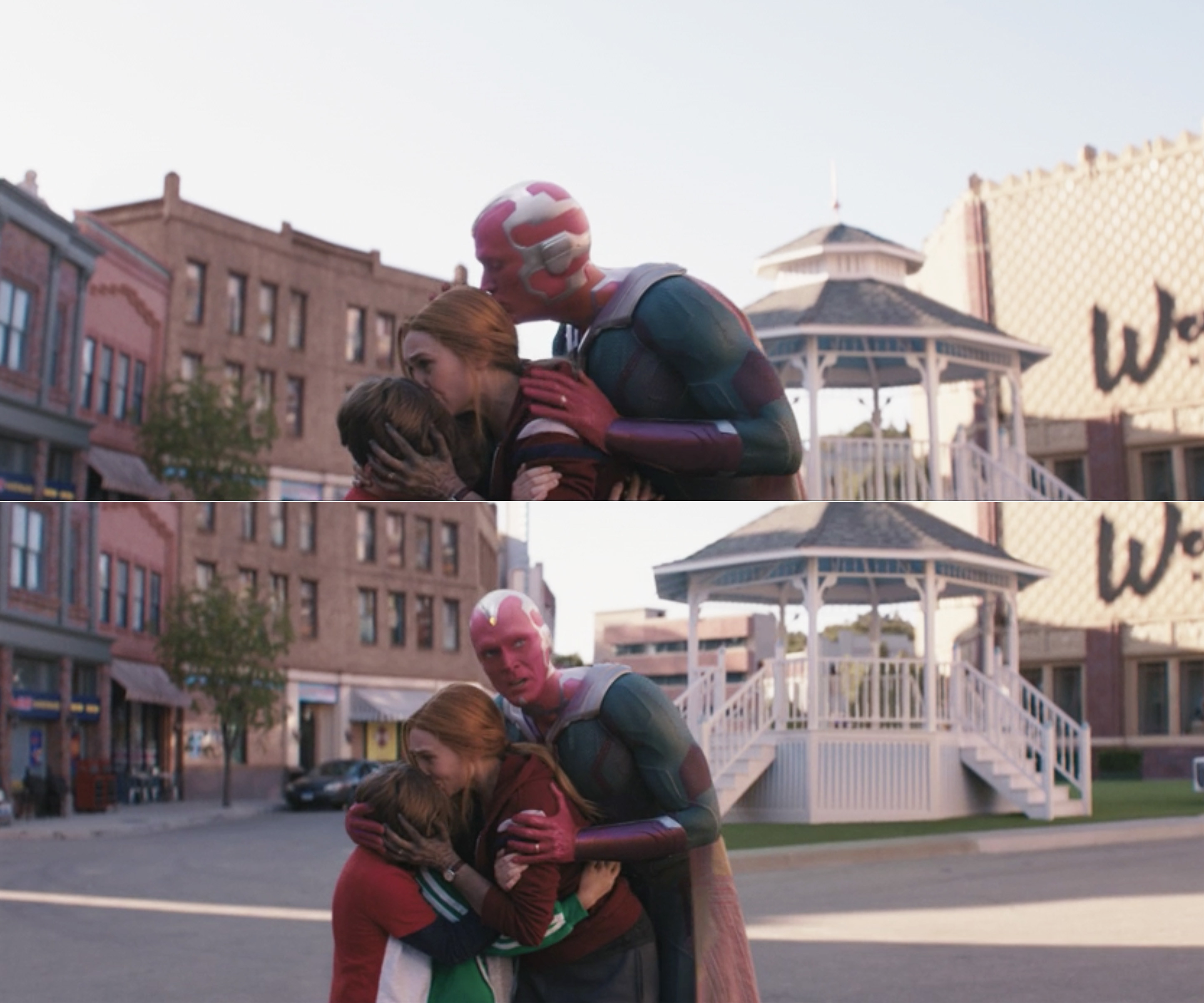 Wanda, Vision, Billy, and Tommy hugging and Wanda kissing their heads