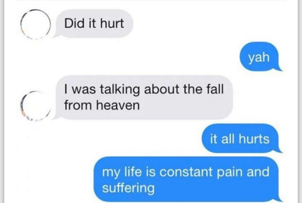 text reading did it hurt yah i was talking about the fall from heaven it all hurts my life is pain and suffering