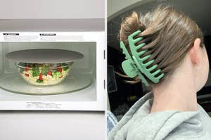 on left, gray lid on microwave-safe bowl. on right, reviewer wears giant green clip in hair