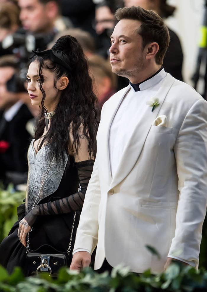 Elon Musk and Grimes are seen arriving to the Heavenly Bodies: Fashion & The Catholic Imagination Costume Institute Gala at The Metropolitan Museum on May 7, 2018 in New York City