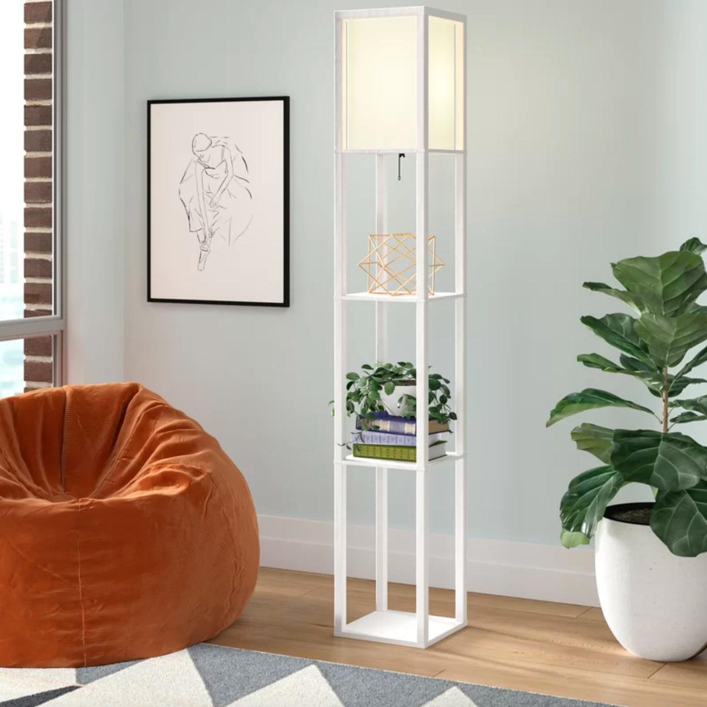 The light floor lamp in white