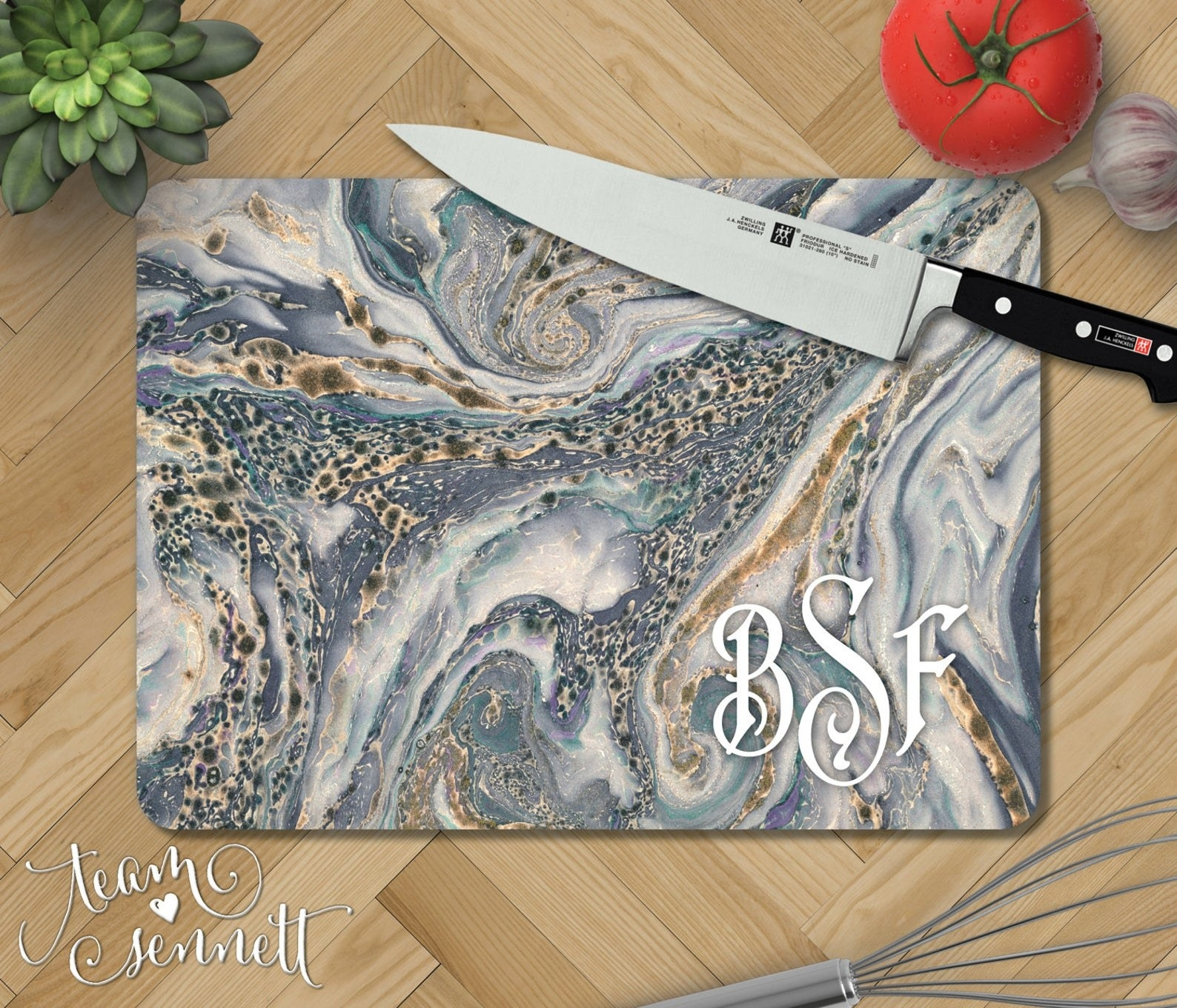 Personalized marbled cutting board placed on counter