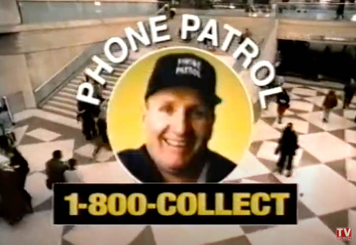 A screen shot of Ed O'Neill's face inside of a logo with Phone Patrol and 1-800-Collect written around him