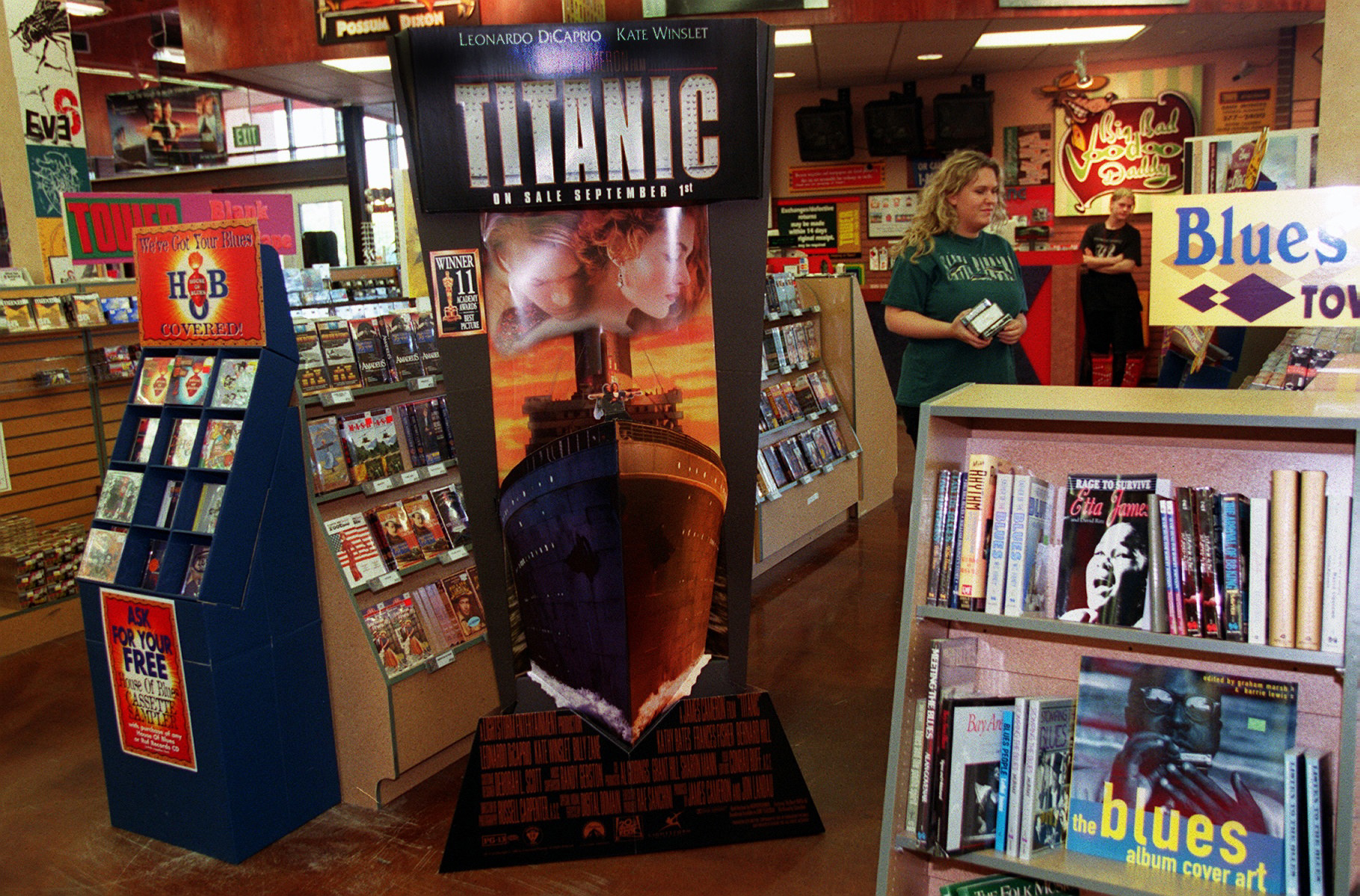 Titanic video promotional cutout inside of a Tower Record