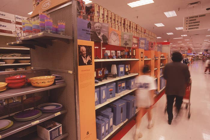 The home section of a Target with a entire shelf displaying Michael Graves products