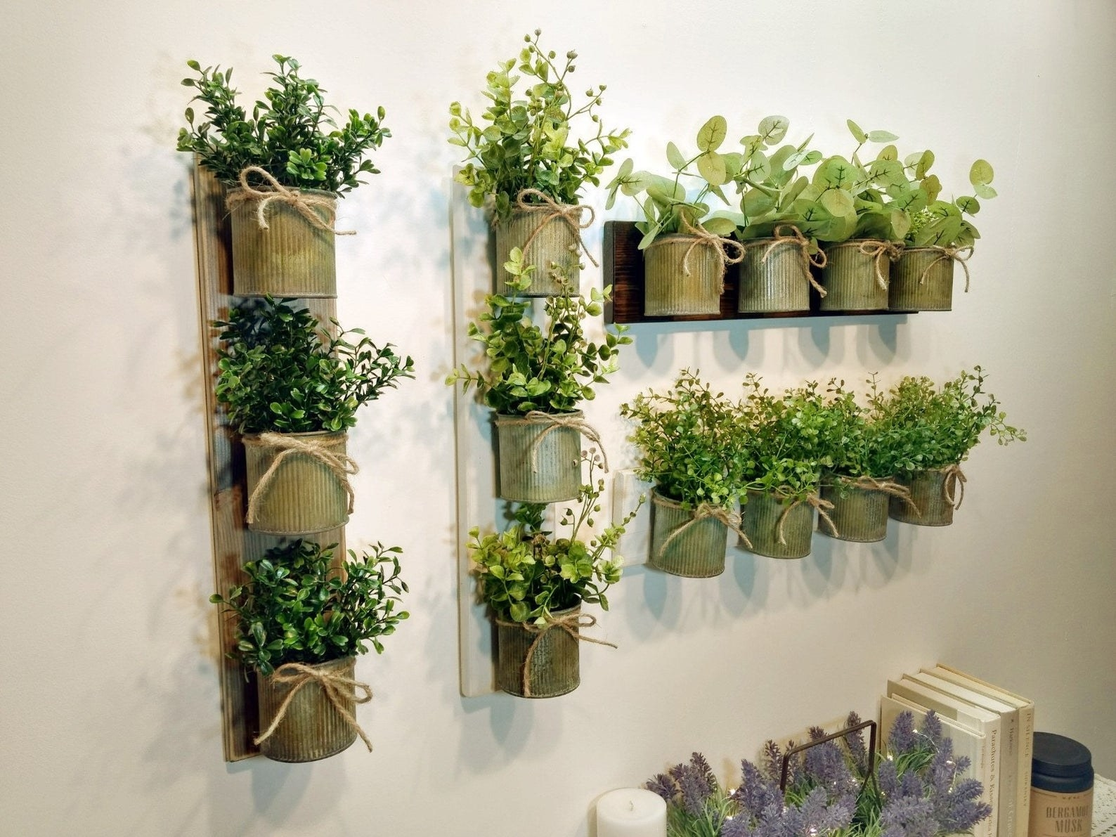 Various planters on wooden background hanging on wall
