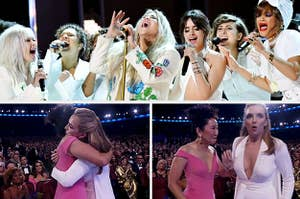 Camila Cabello, Cyndi Lauper, and Andra Day joining Kesha on stage at the Grammys; Sandra Oh congratulating Jodie Comer for her Emmy win