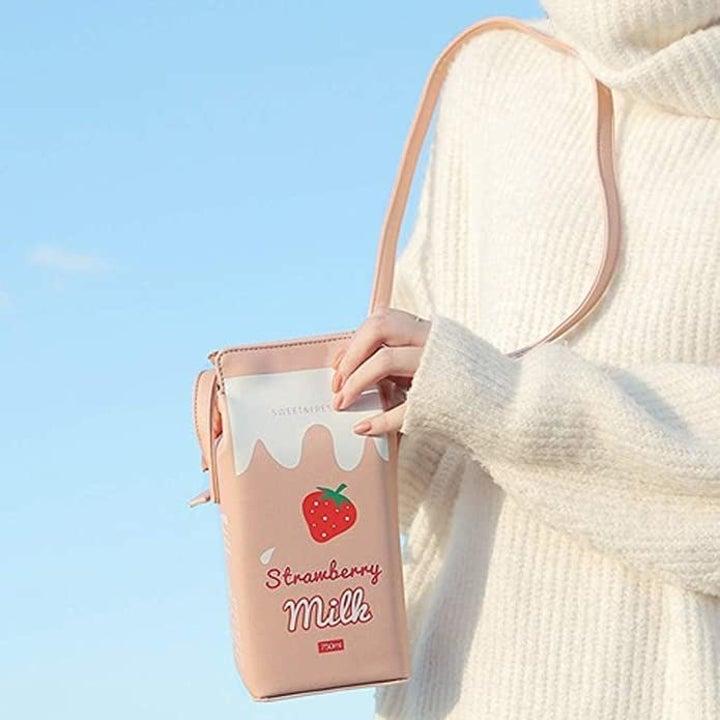 the pink strawberry milk bag