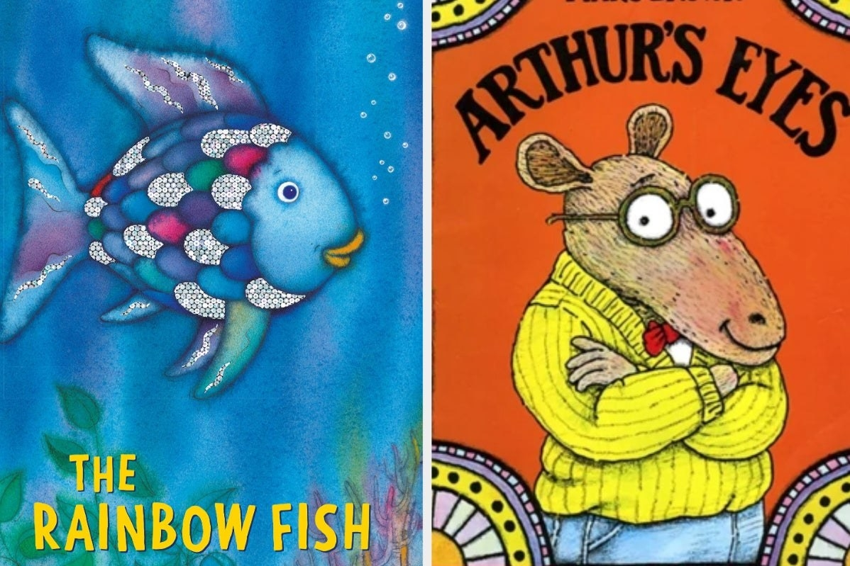 "Book covers for ""The Rainbow Fish"" and ""Arthur's Eyes"""