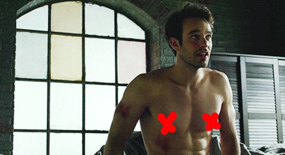 """Charlie shirtless in his apartment in """"Daredevil"""""""