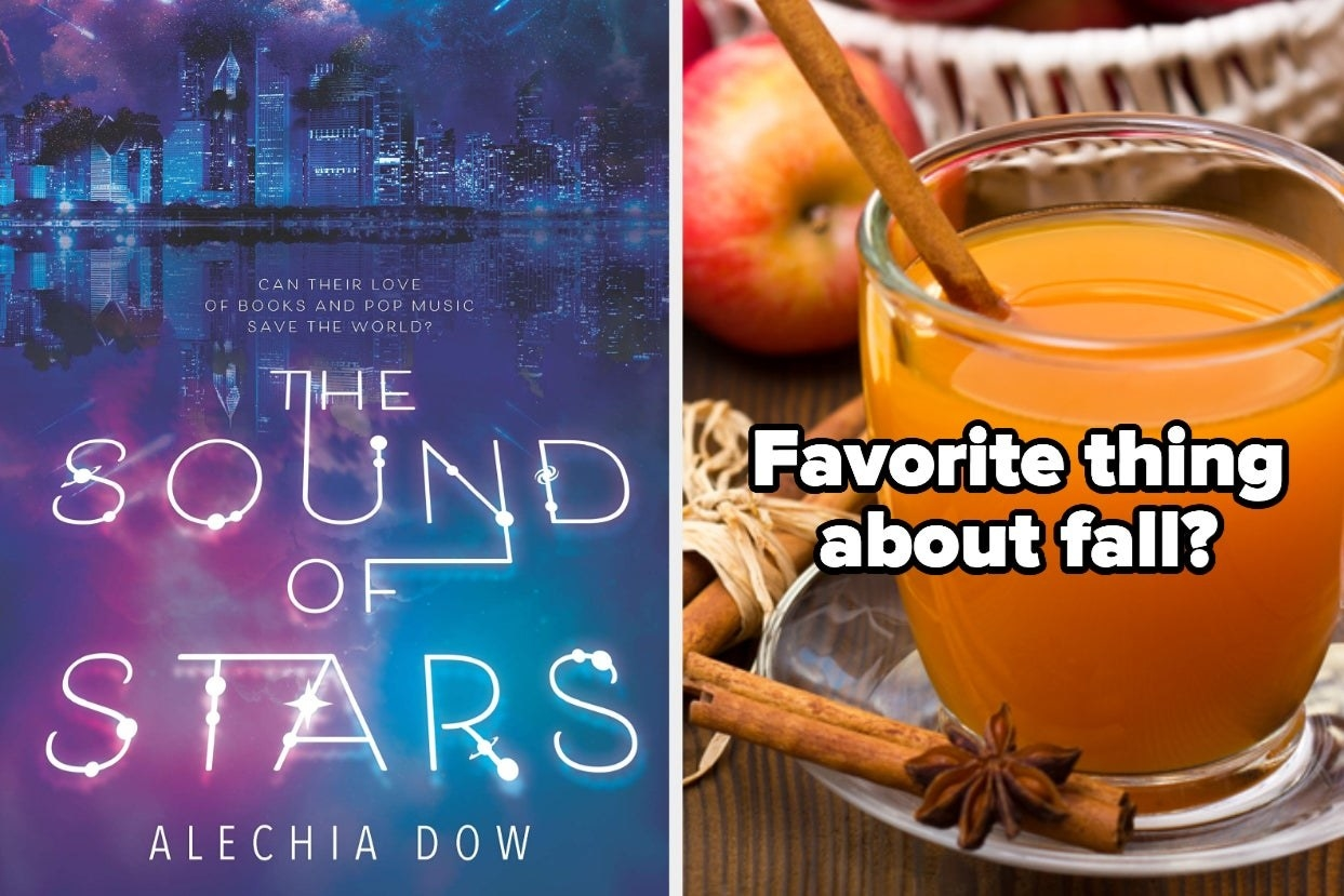 "Book cover ""The Sound of Stars"" and apple cider with the words ""Favorite thing about fall?"""