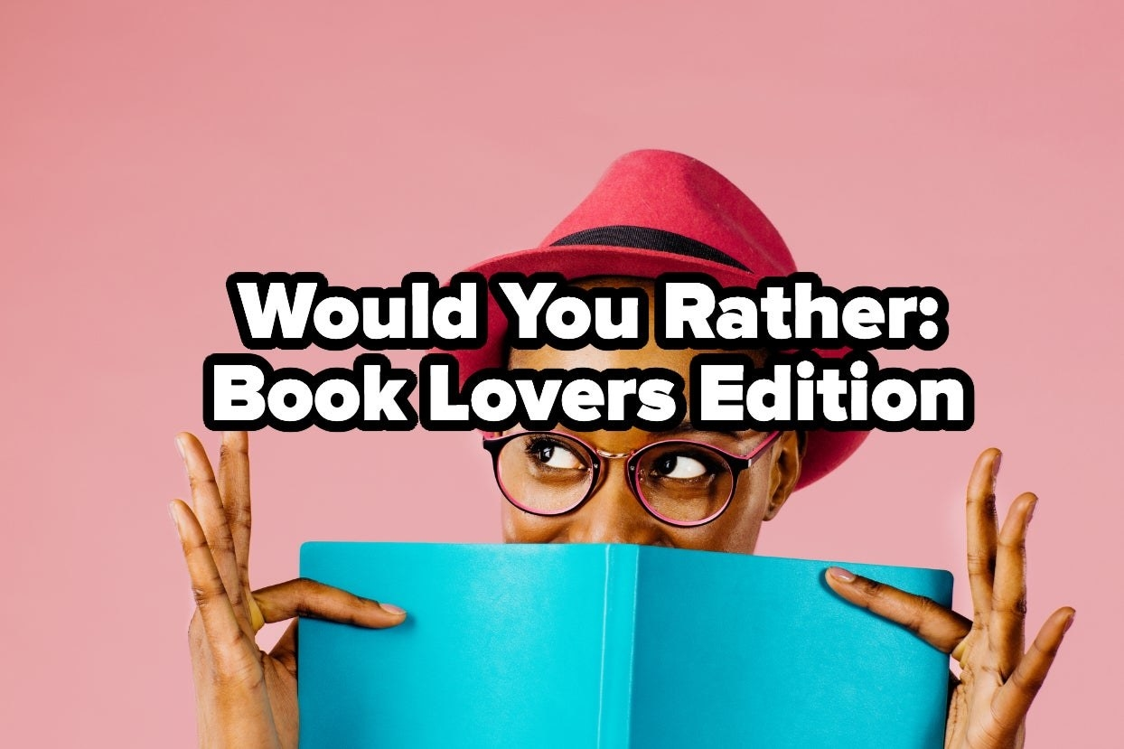 "Woman reading book with the words ""Would you rather: book Lovers edition"""