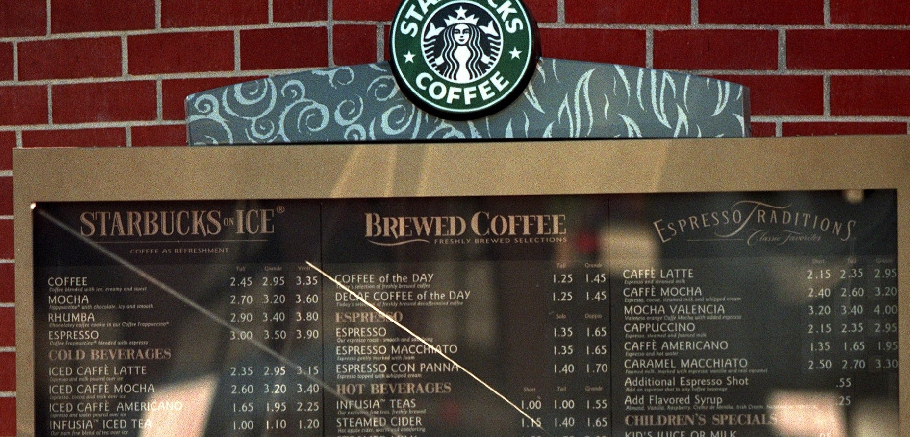 Starbucks menu in a drive-thru