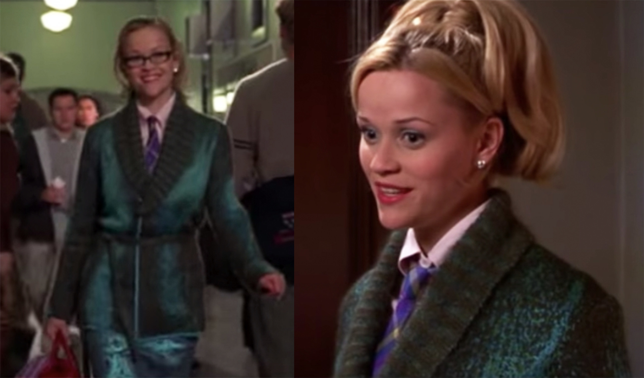Snake-colored, shiny suit and plaid tie